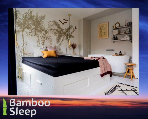 Bamboe hoeslaken topdekmatras zwart
