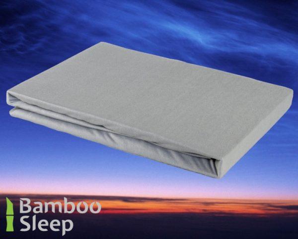 Bamboe hoeslaken zilver
