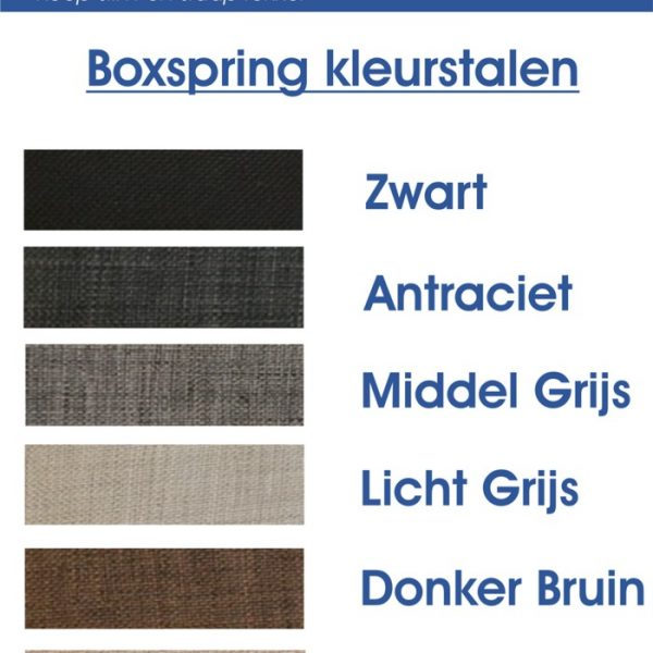Kleurstalen Boxspring
